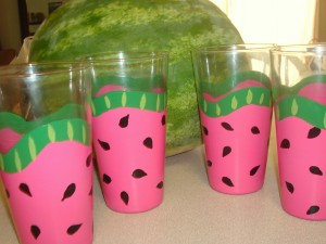 Watermelon glasses by bethanybeachdesigns.com