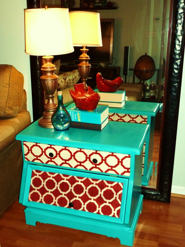 upcycled end table with fabric