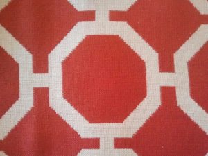 tomato red geometric fabric