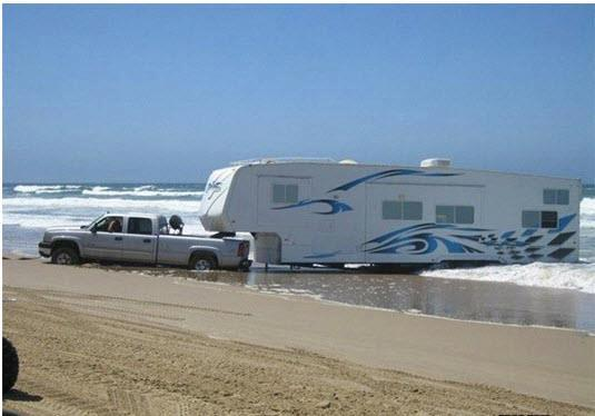 trailer stuck on beach